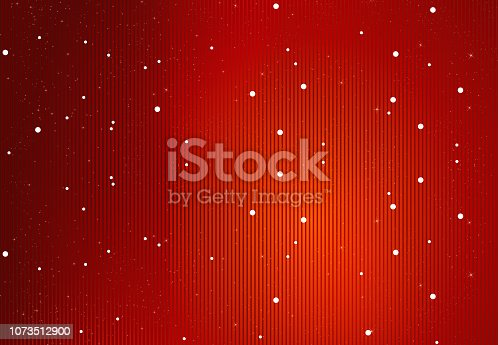 Glittery red striped vector background. Very thin vertical stripes all over in red, maroon, black gradient. Small White circular bubbles scattered randomly all over along with red point sized glitter. Apt for Christmas wallpaper, Valentine's Day backdrop, New Year, birthday party celebration theme, gift wrapping paper, sheet. Copy space, vignetting. Starry, stellar background