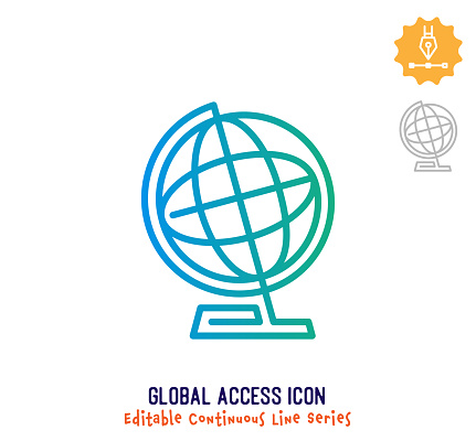 Global Access Continuous Line Editable Icon