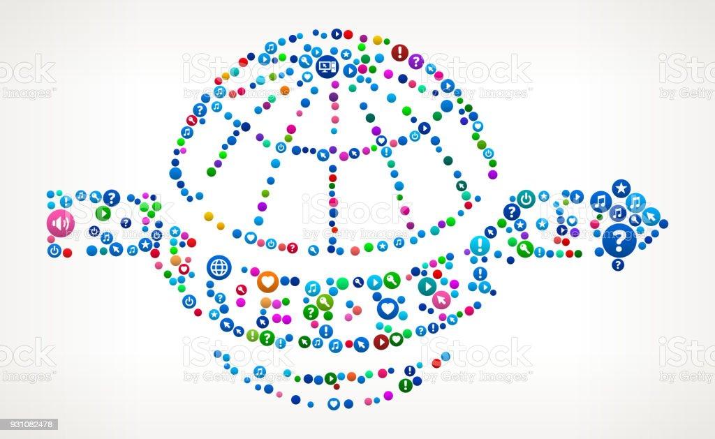 Global Binary Internet Communication Technology Icon Pattern vector art illustration