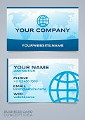 Business card front and back template world map concept. EPS 10 file. Transparency effects used on highlight elements.