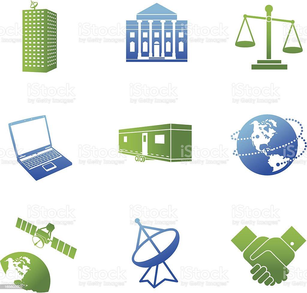 Global Business Communications série bleue et verte - Illustration vectorielle