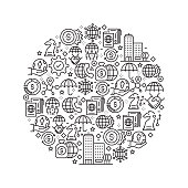 Global Business Concept - Black and White Line Icons, Arranged in Circle