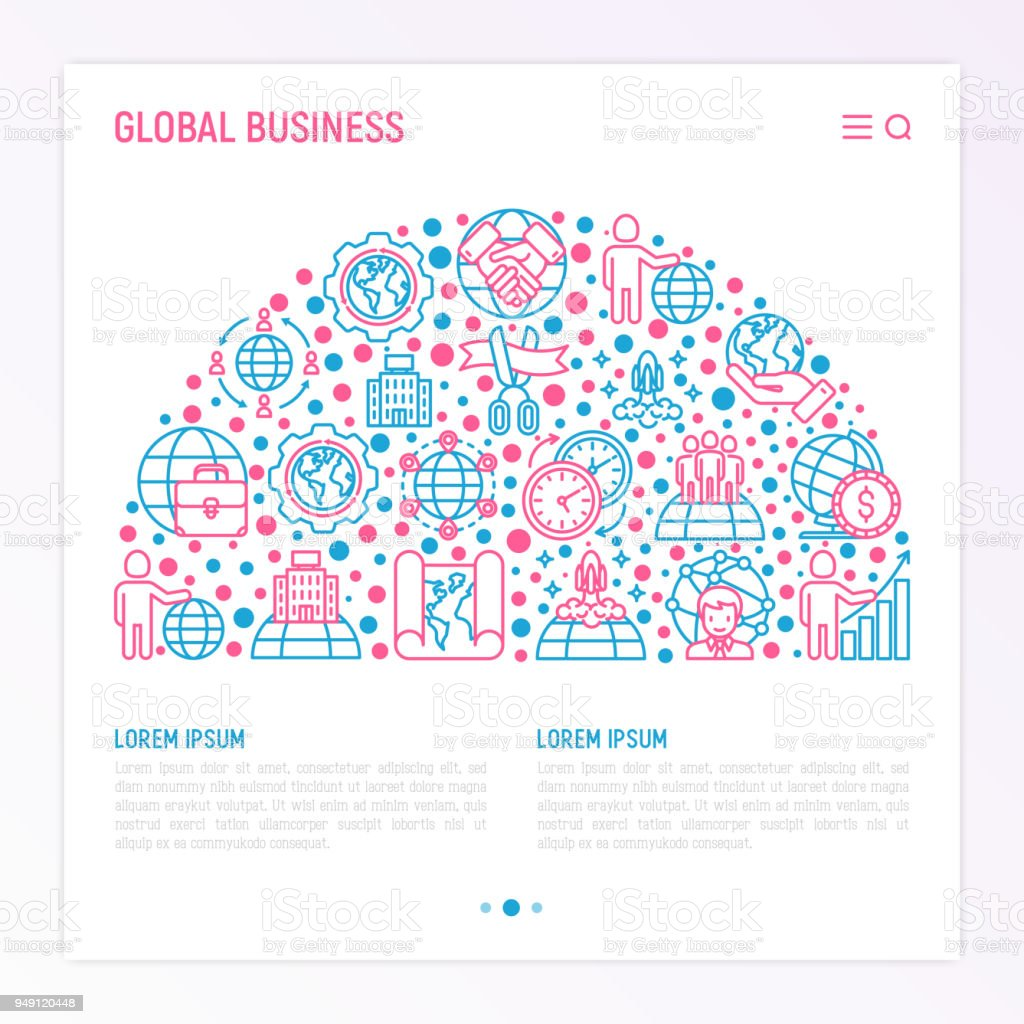 global business concept in half circle with thin line icons
