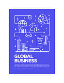 Global Business Concept Line Style Cover Design for Annual Report, Flyer, Brochure.