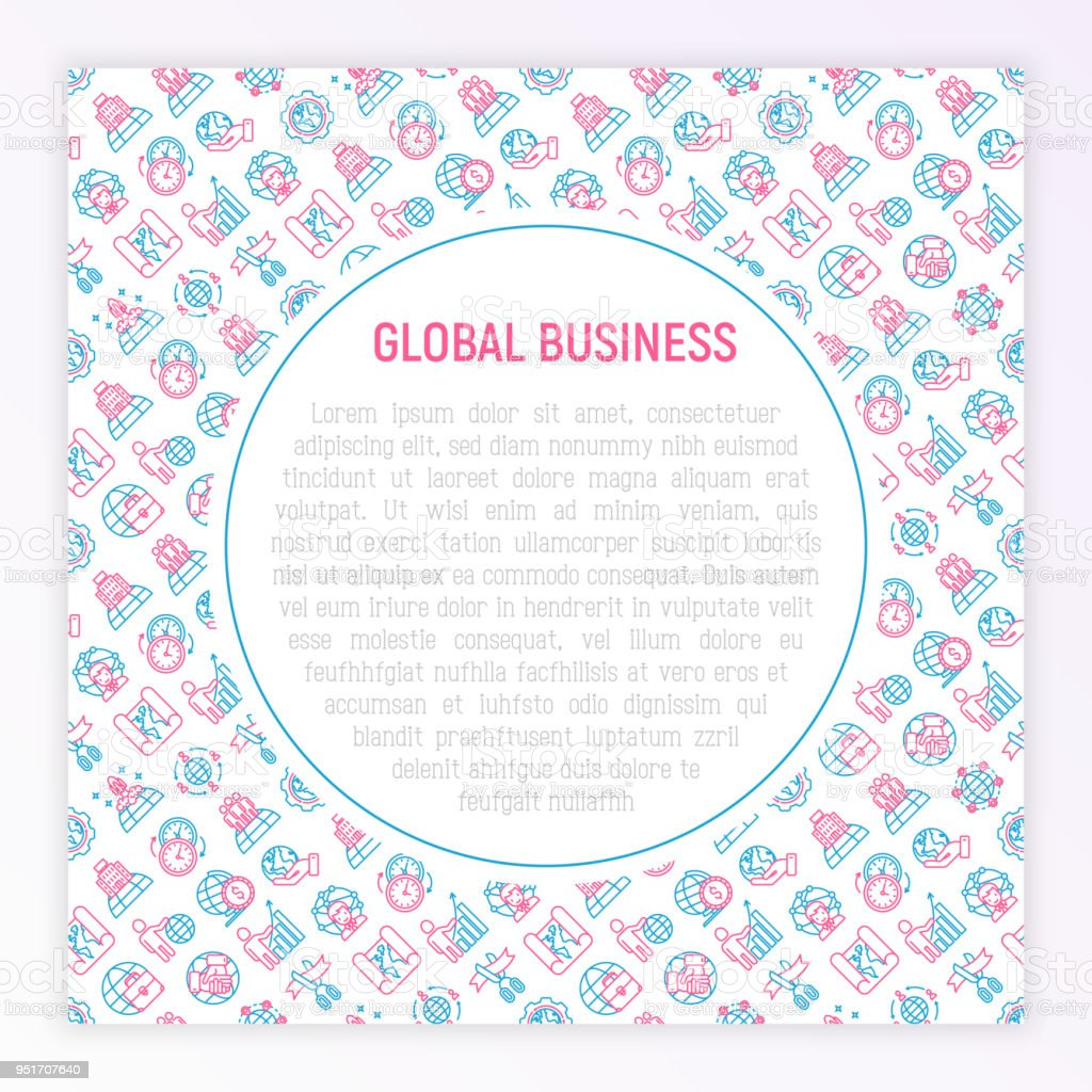 Global Business Concept With Thin Line Icons Investment Outsourcing