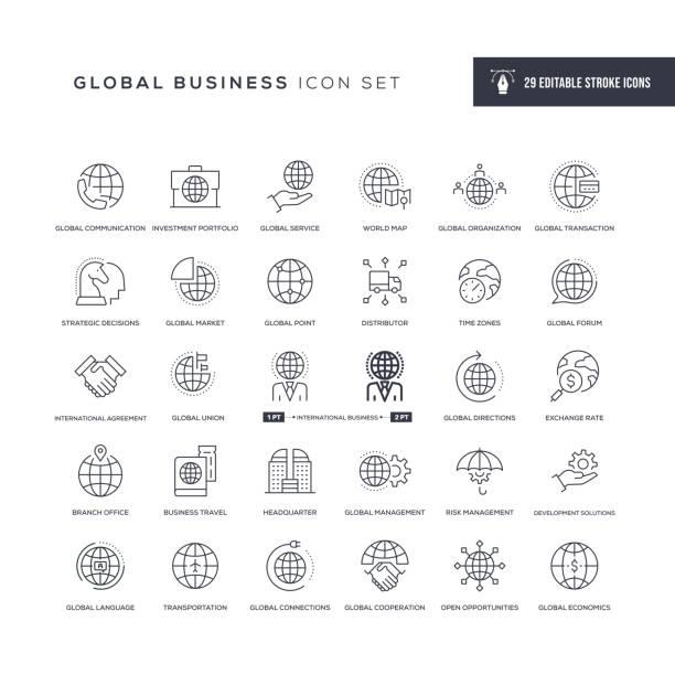 ikony linii obrysu edytowalnych w globalnej firmie - globalny stock illustrations