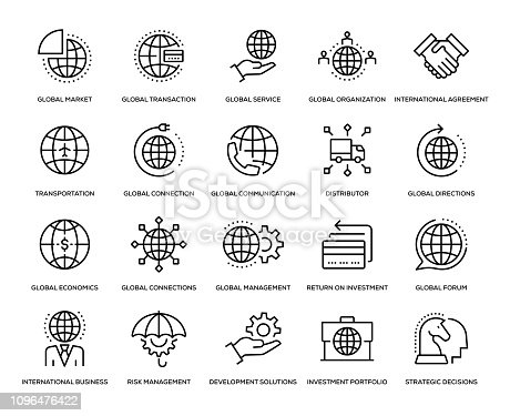 Global Business Icon Set - Thin Line Series