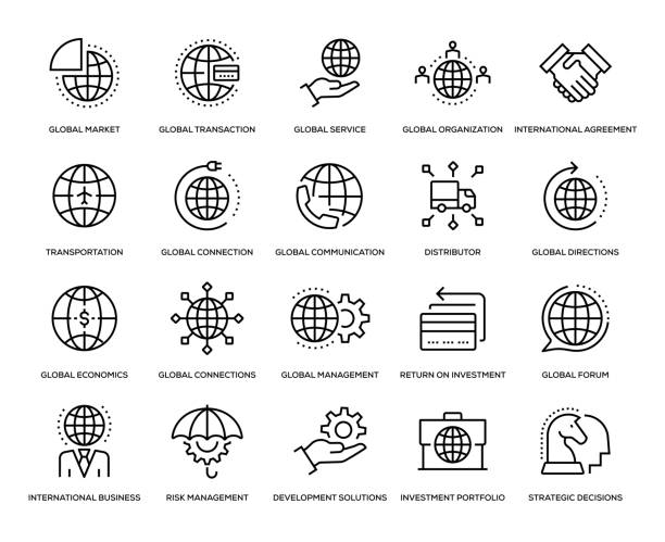 illustrations, cliparts, dessins animés et icônes de global business icon set - communication globale