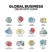 Global Business icons. Vector line icons set. Premium quality. Modern outline symbols and pictograms.