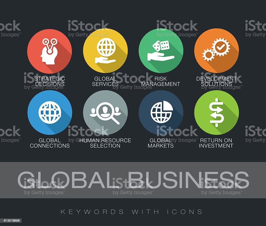 Global Business keywords with icons vector art illustration