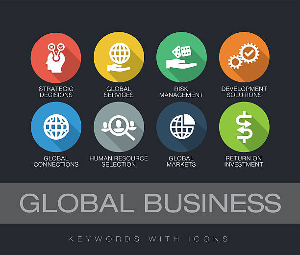 global business keywords with icons - 긴 그림자 디자인 stock illustrations