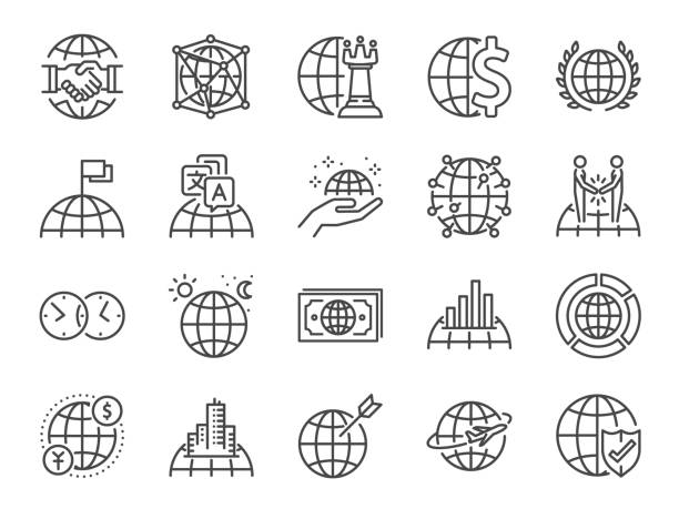 global business line icon set. included icons as world class, international, finance, cooperation, strategy and more. - globalny stock illustrations