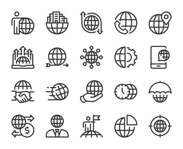 globalny biznes - ikony linii - globalny stock illustrations