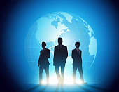 istock Global Business people team silhouettes. Vector style concept 1310033253
