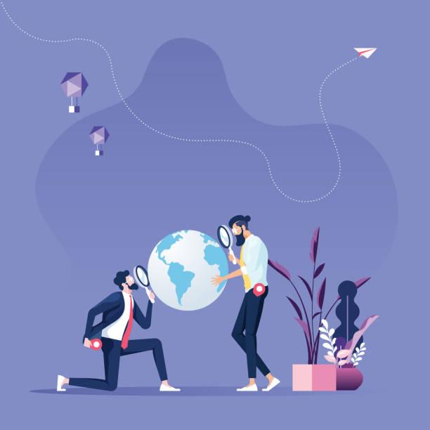 stockillustraties, clipart, cartoons en iconen met wereldwijde business search opportunity-zakenman met vergrootglas over de wereld kaart - new world