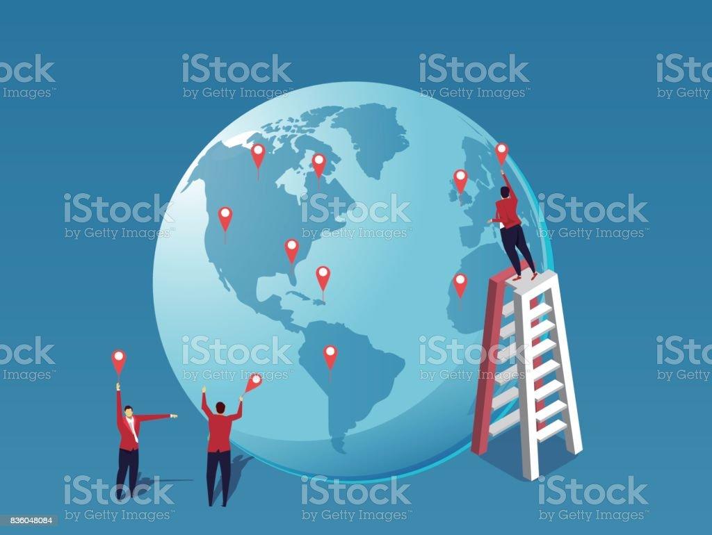 Global business strategy deployment vector art illustration