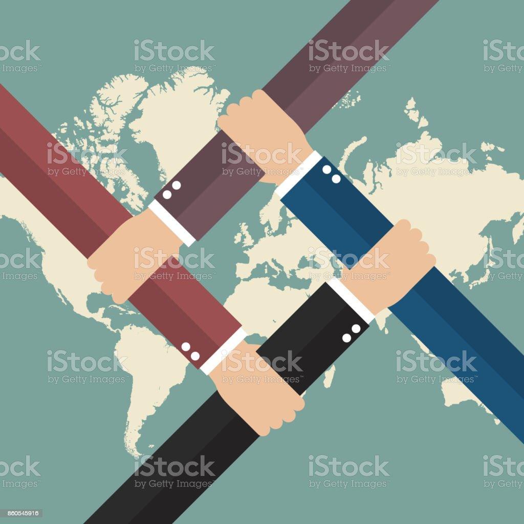 Global business teamwork vector art illustration