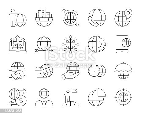Global Business Thin Line Icons Vector EPS File.