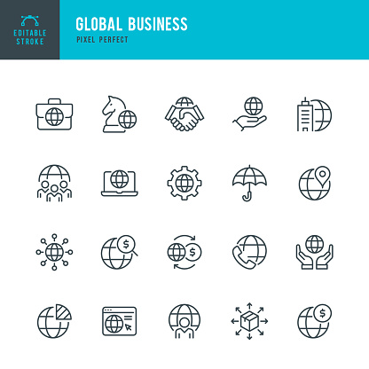 Global Business - thin line vector icon set. Pixel perfect. Editable stroke. The set contains icons: Global Business, Partnership, Headquarters, Business Strategy, Logistic, Worldwide Payments.