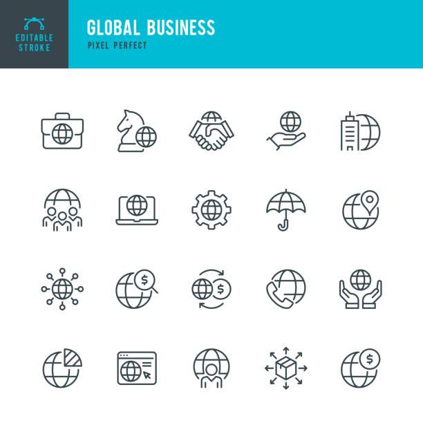 global business - zestaw ikon wektorowych cienkich linii. piksel idealny. edytowalne obrys. zestaw zawiera ikony: globalny biznes, partnerstwo, centrala, strategia biznesowa, logistyka, płatności na całym świecie. - globalny stock illustrations