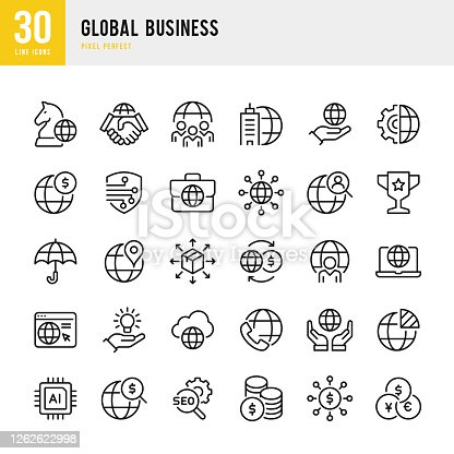 Global Business - thin line vector icon set. 30 linear icon. Pixel perfect. The set contains icons: Global Business, Partnership, Corporate Business, Headquarters, Business Strategy, Logistic, Funding, Worldwide Payments, Cooperation.
