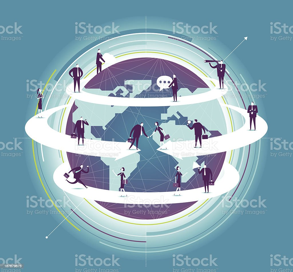 Global business vector art illustration