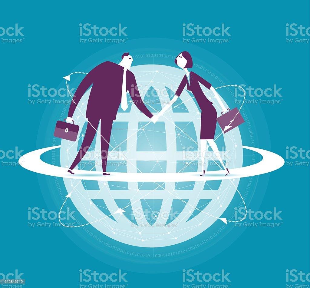 Global business vector art illustration