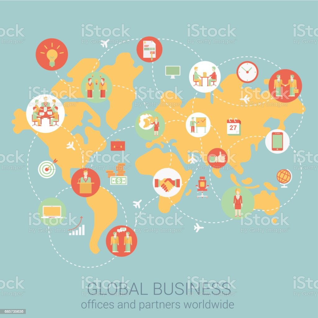 Global business worldwide flat style design vector illustration global business worldwide flat style design vector illustration world map people partnership link connections staff office gumiabroncs Choice Image