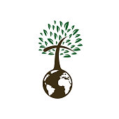 Globe with cross tree vector icon.