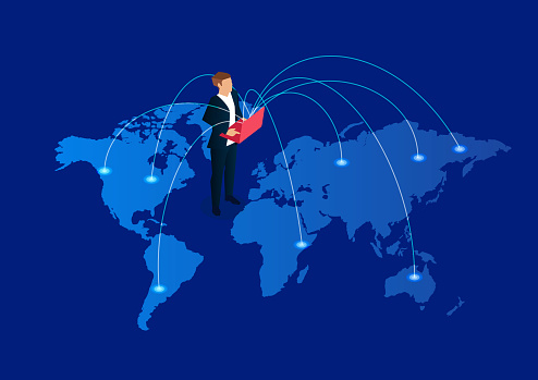 Global communication, businessman holding laptop standing on world map