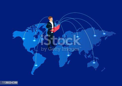 istock Global communication, businessman holding laptop standing on world map 1139034289