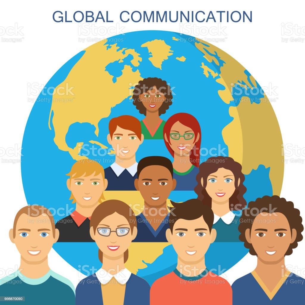 Global communication flat design vector art illustration