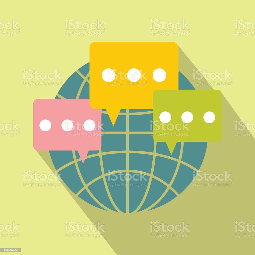 Globale Kommunikation flache Symbol – Vektorgrafik