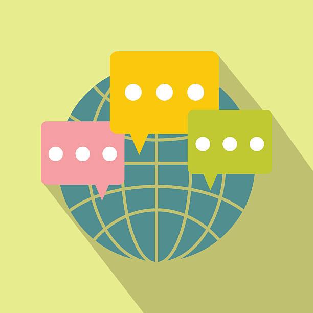 De comunicación Global icono plana - ilustración de arte vectorial