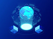 Global communication Internet network around the planet. Network and data exchange over planet. Connected satellites for finance, cryptocurrency or IoT technology.