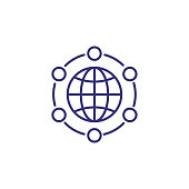 Global communication line icon