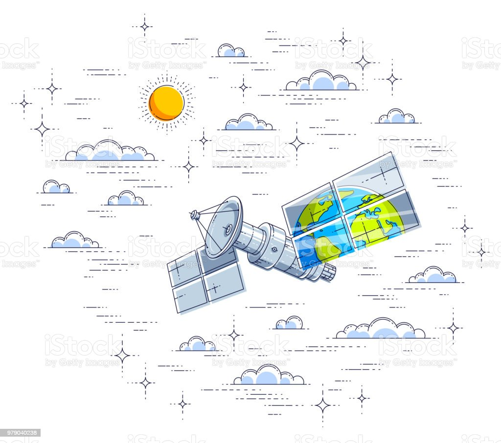 Free Illustration Solar System Orbit Diagram Digital Global Communication Technology Satellite Flying In The Cloudy Sky And Reflecting Earth Panels