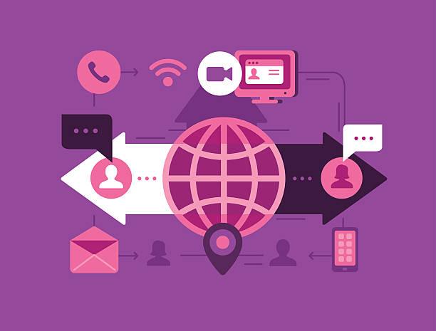 illustrazioni stock, clip art, cartoni animati e icone di tendenza di comunicazione globale  - video call