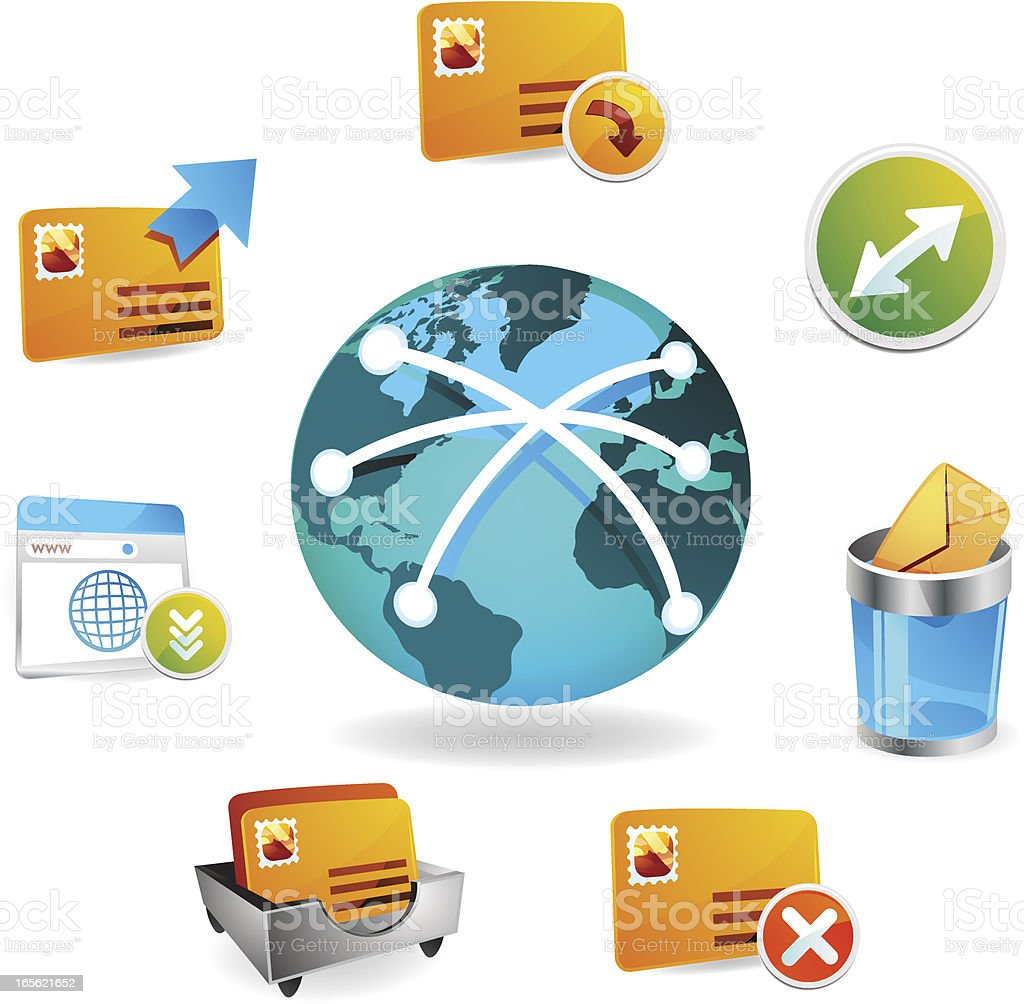 Global Communication Web Icons vector art illustration