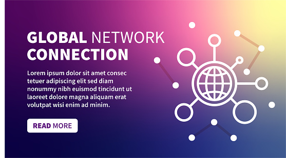Global Connection Banner on Holographic Gradient Background