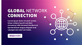 Global connection banner on holographic gradient background for web, mobile, print, textile or any graphic projects.