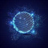 Global connection hi-tech technology concept based matrix coding background with 3d globe illustration.