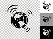 Global Connection Icon on Checkerboard Transparent Background. This 100% royalty free vector illustration is featuring the icon on a checkerboard pattern transparent background. There are 3 additional color variations on the right..