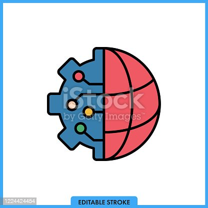 istock Global Connections Single Line Icon with Editable Stroke and Pixel Perfect. 1224424454