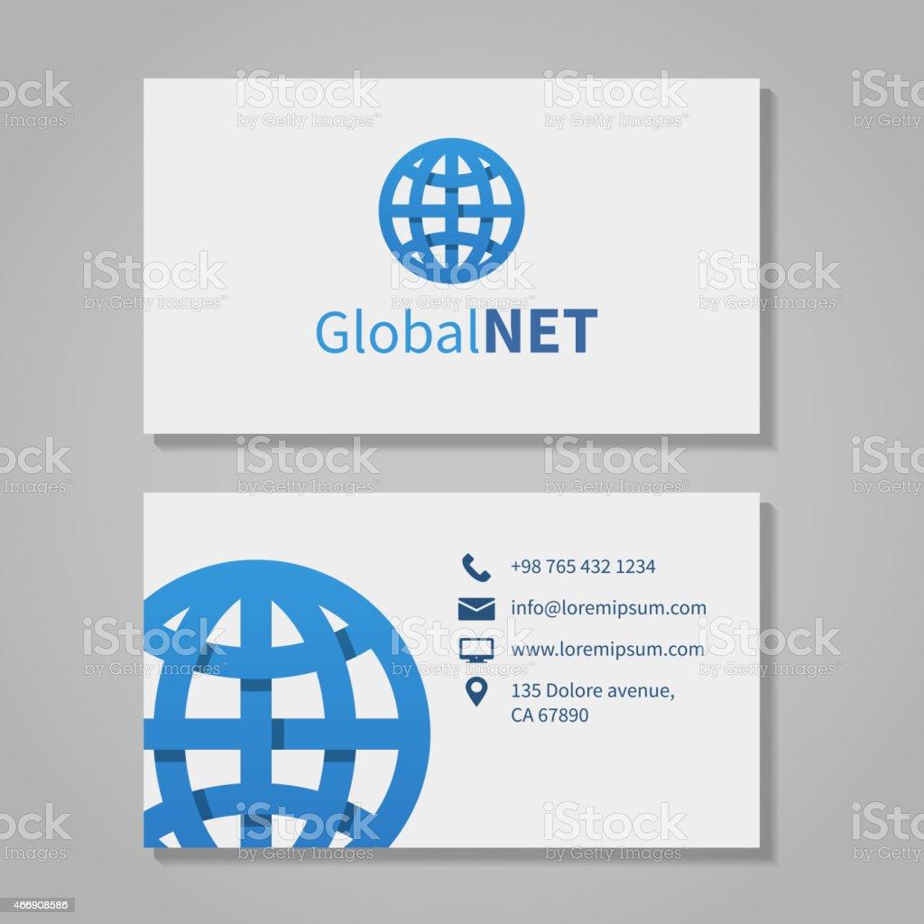 Global corporation business card vector art illustration