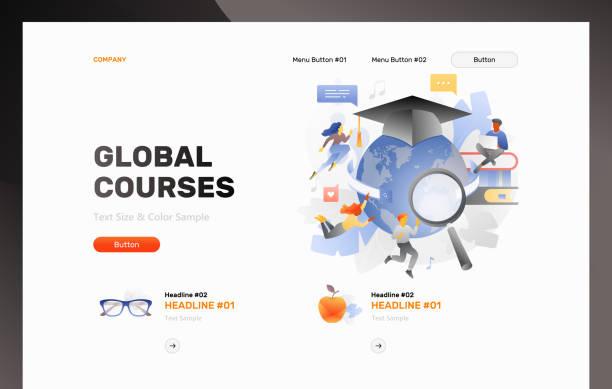 globale kurse web-header vorlage - reiseliteratur stock-grafiken, -clipart, -cartoons und -symbole