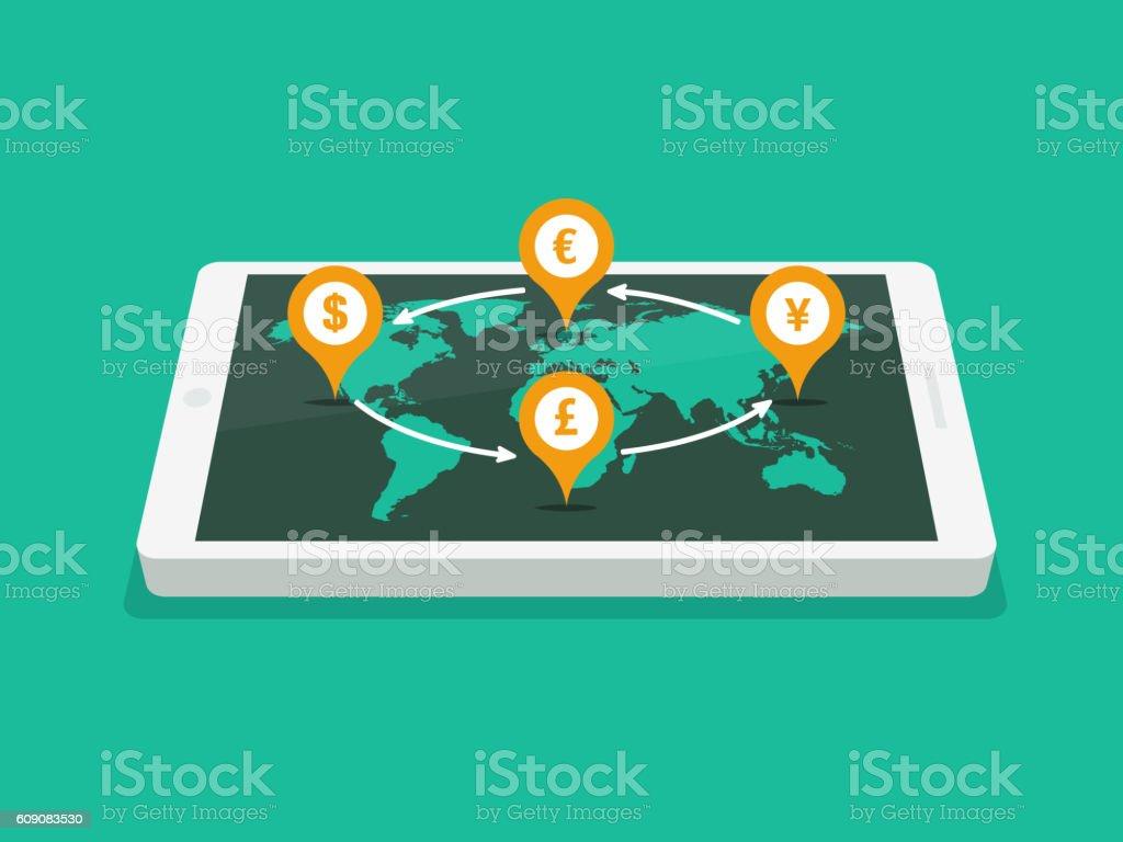 Global Currency Exchange vector art illustration