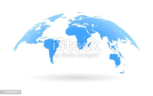 istock Global curved World map. Blue Earth Planet background vector illustration. 1226808012