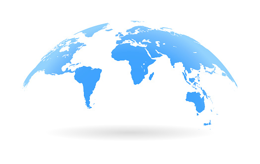 Global curved World map. Blue Earth Planet background vector illustration.