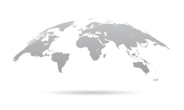 global curved world map - ilustracja wektor earth planet - globalny stock illustrations